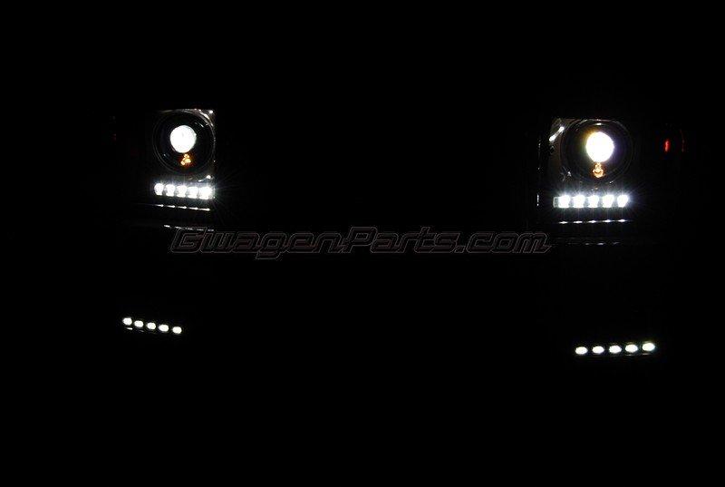b style black headlights hid conversion kit for 2002 2007 mercedes g class w463 gwagenparts com mercedes g class parts mercedes g class parts